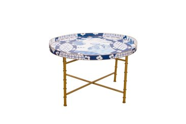Blog Giveaway! Dana Gibson Canton in Blue Coffee Table With Bamboo Stand!