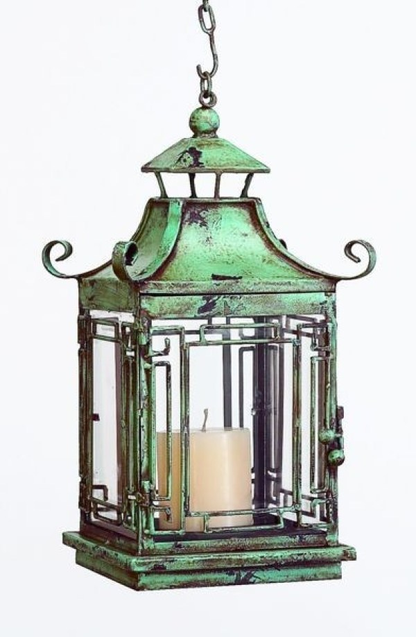 distressed-blue-pagoda-lantern-iron-tole-glass-hand-finished-green