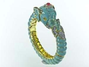 polished_gold_turquoise_enamel_elephant_bracelet