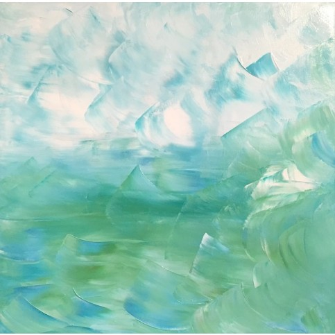Sea Bliss Blue  Green Abstract Original Canvas Painting $1600