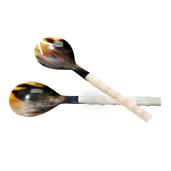 variegated-horn-salad-servers-bamboo-shape-bone-handle