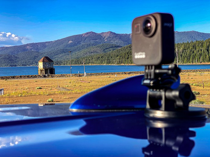 I attached the GoPro Max 360° camera to the roof of a 2018 Mitsubishi Eclipse Cross (provided by WestMitsubishi.com).  After leaving Quincy, I drove a different route home... one which took my past Lake Almanor... but that's an entirely different story.