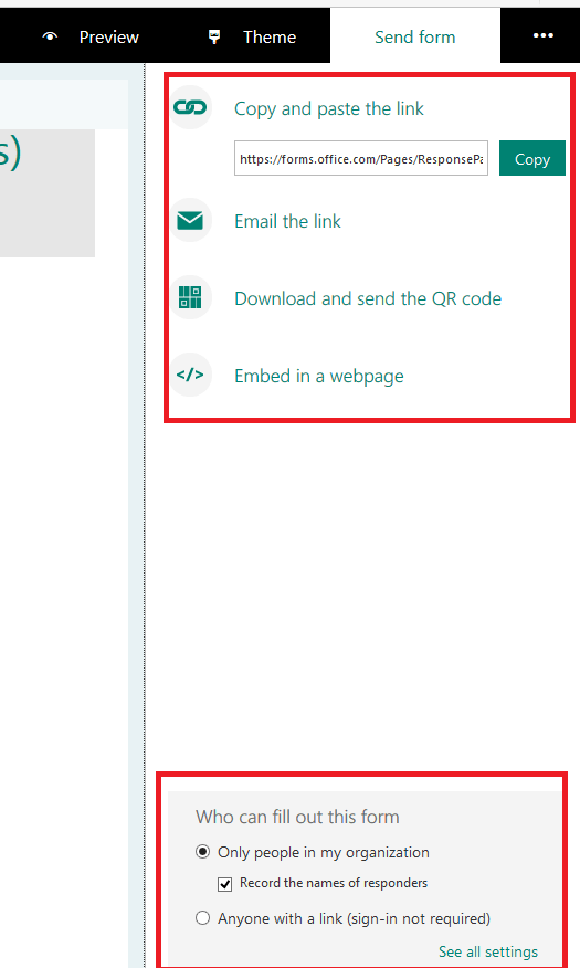 Send the Office 365 Form