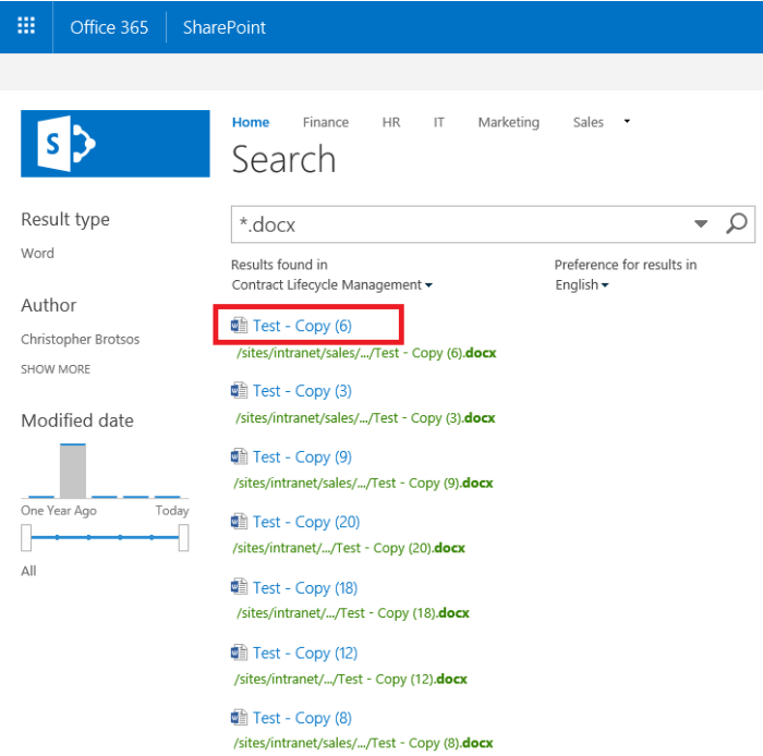 Business Management O365 SharePoint name property in search.