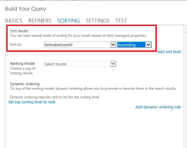 SharePoint Search Refiners in content search web part sorting.