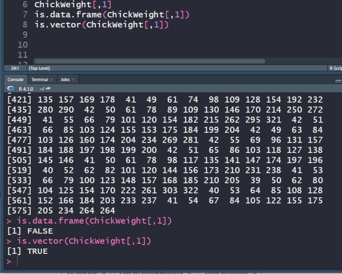 R single level select of data frame.