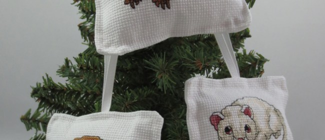 Ferret Cross Stitched Ornaments