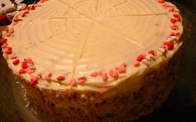 CARROT CAKE w/ maple cream cheese frosting…for my sweetie.