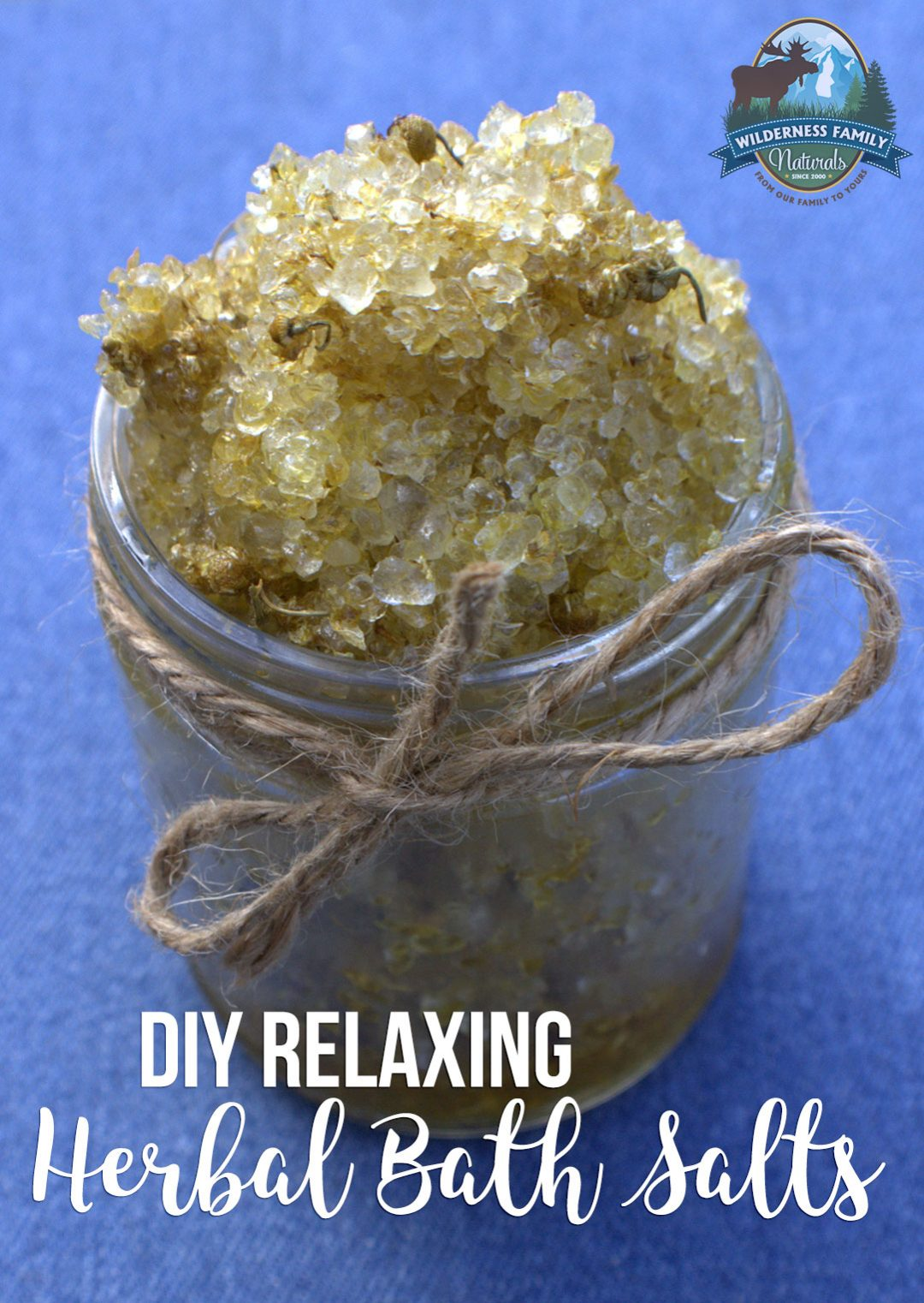 DIY Relaxing Herbal Bath Salts | Adding herbal salts to exfoliate and soothe your skin makes a hot bath even better. And we all have that someone on our list who's hard to buy for... so give them the gift of natural relaxation this year with some DIY bath salts! | WildernessFamilyNaturals.com
