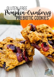 Gluten-Free Pumpkin-Cranberry Prebiotic Cookies | Low-glycemic and full of fiber, these prebiotic cookies capture holiday spirit with pumpkin and cranberries. It's gluten-free cookies for Santa this year (and for hangry mamas who can snag a few for our purses, too!). | WildernessFamilyNaturals.com