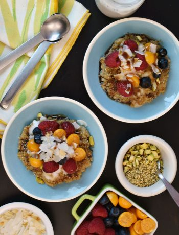 Coconut Quinoa Porridge | What a wonderful breakfast treat! Top this porridge with coconut yogurt, toasted pistachios, toasted hemp hearts, coconut chips, or berries. Drizzled with a bit of WFN's coconut syrup, this is a true breakfast powerhouse! | WildernessFamilyNaturals.com
