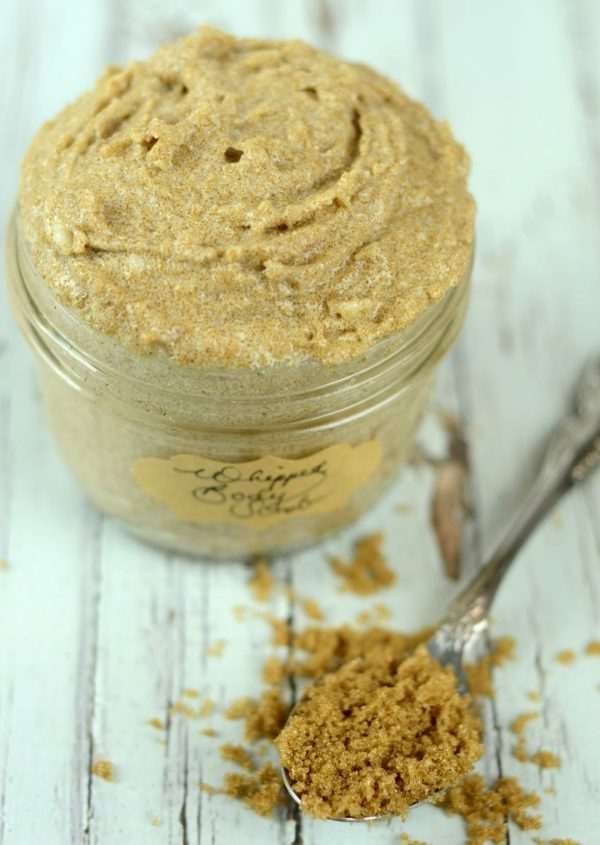 Moisturizing Vanilla Whipped Body Scrub | Blend the moisturizing power of body butter with the exfoliating benefits of body scrub for a super nourishing, extra-emollient treat for the skin that feels like a high-end spa treatment. Make this whipped body scrub in just 5 minutes! | WildernessFamilyNaturals.com