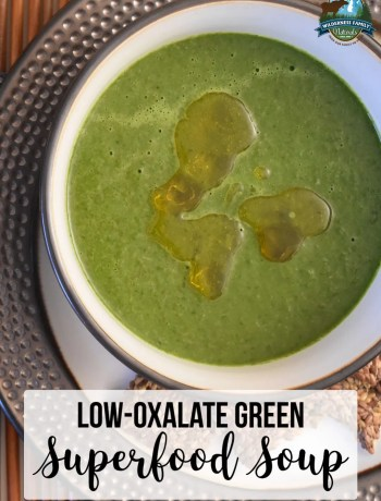 Low-Oxalate Green Superfood Soup | Are raw greens as healthy as we've been led to believe? Raw greens, like kale, spinach, and collard greens, are high a compound that may cause kidney stones. Learn the truth about oxalates here, plus get our low-oxalate green soup recipe! | WildernessFamilyNaturals.com