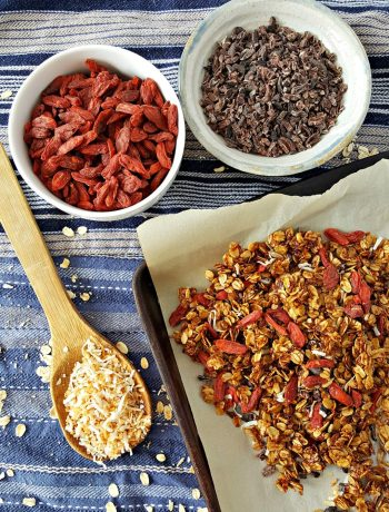 Gluten-Free Goji Berry Granola | Making your own naturally sweetened, gluten-free goji berry granola is not only healthy and frugal, it's easy and fun! Get the kids involved and make a big batch on the weekend to have throughout the week. | WildernessFamilyNaturals.com