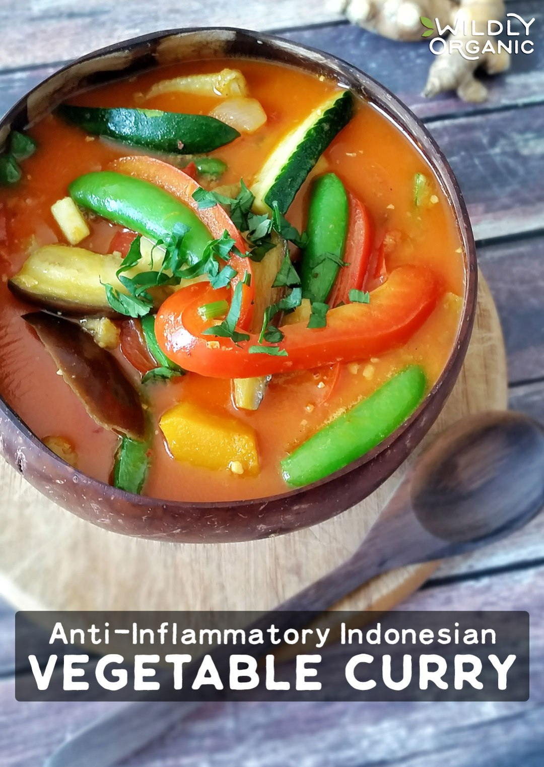 Anti-Inflammatory Indonesian Vegetable Curry | Inspired by a recent trip to Bali, one of our Wildly Organic writers recreated an authentic Anti-Inflammatory Indonesian Vegetable Curry! This Paleo and vegan main dish contains the anti-inflammatory trio: turmeric, black pepper, and coconut! | WildlyOrganic.com