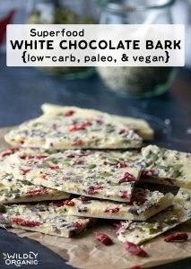 Superfood white chocolate bark