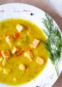 Dairy-Free Saffron & Dill Salmon Chowder (potato-free, too!)