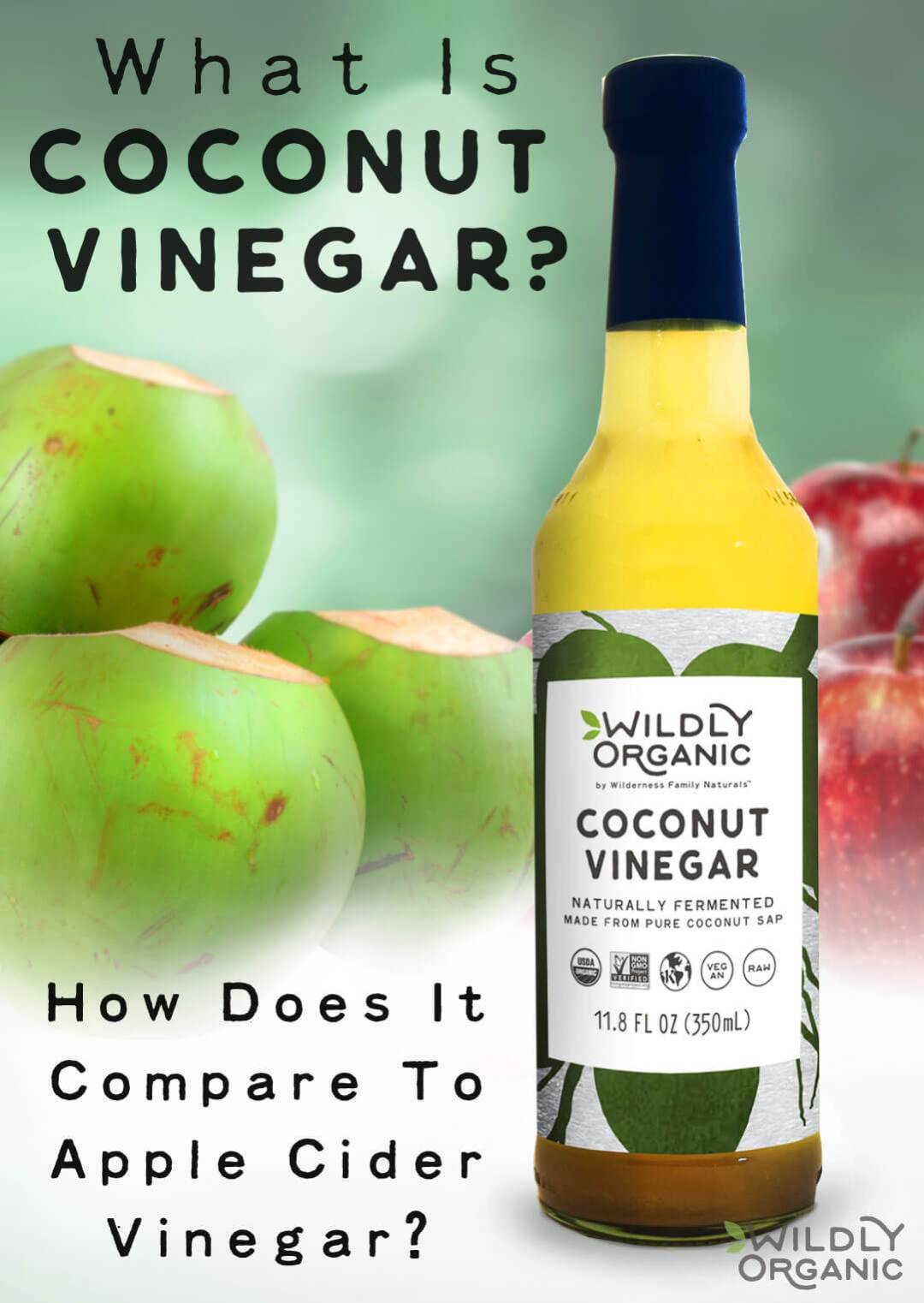 What is coconut vinegar? How does it compare in health benefits and taste to apple cider vinegar? Learn about Wildly Organic's totally raw and unfiltered organic coconut vinegar and how you can use it in homemade mayo, salad dressings, and marinades!