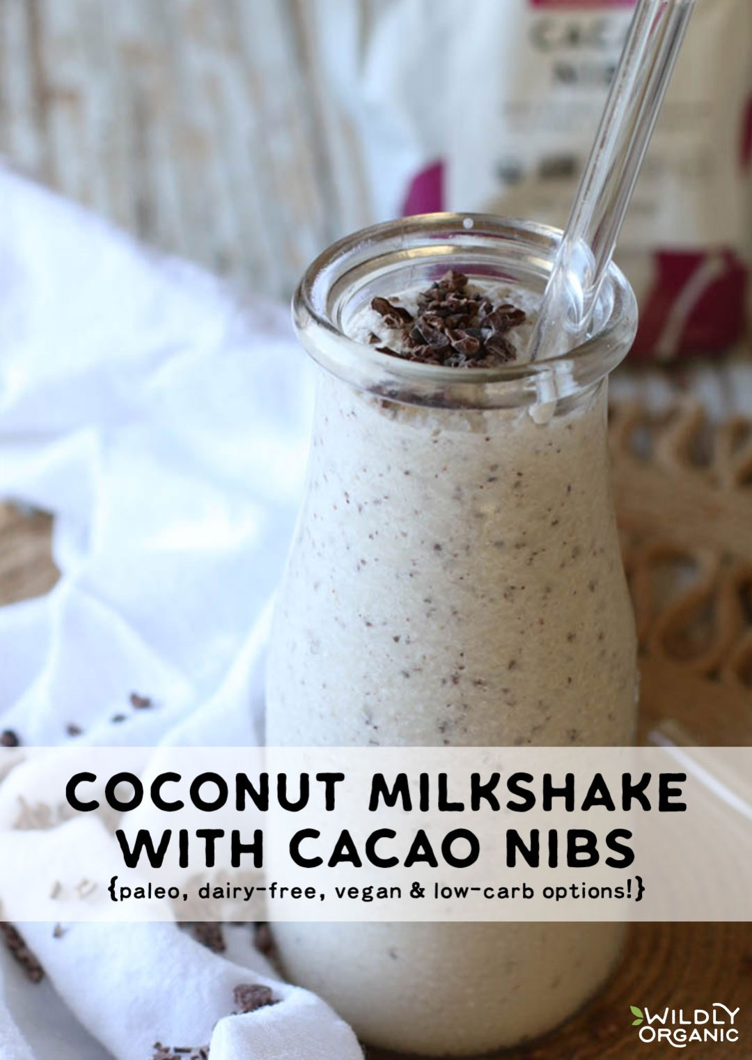 Summer will be here eventually, and you'll be reaching for something cold, creamy, and delish! Like this Coconut Milkshake with Cacao Nibs! It's Paleo, dairy-free, and has vegan and low-carb options, plus only 5 ingredients! Have one for a quick and nourishing breakfast or snack!