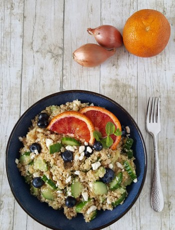 This Cucumber & Blueberry Quinoa Salad with Blood Orange Vinaigrette is light, bright, and fresh. Crunchy cucumber, salty bits of feta, a hint of mint, and pop of blueberry sweetness, surrounded by mildly nutty quinoa, are all wrapped in a refreshing blood orange vinaigrette.