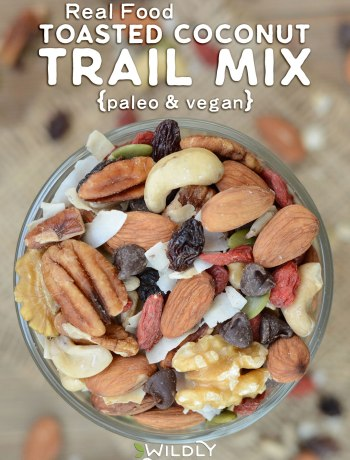 Trail mix is the perfect on-the-go snack for road trips, hiking, camping, pool days, and as an afternoon pick-me-up at home. Most commercial trail mixes contained refined sugar and rancid oil. Not this Real Food Toasted Coconut Trail Mix! It's paleo and vegan with nourishing, soaked nuts and seeds!