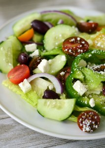 Greek-Style Salad with Olive Oil Dressing {10 minute recipe!}
