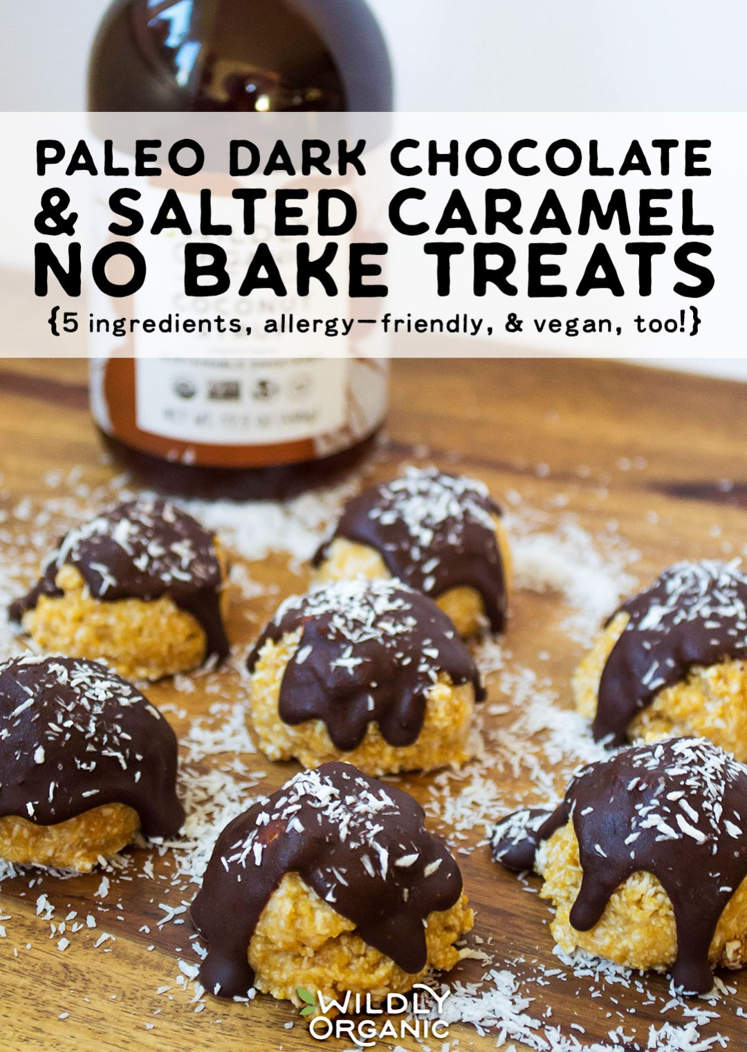 Paleo Dark Chocolate & Salted Caramel No-Bake Treats {5 ingredients, allergy-friendly, & vegan, too!} With just 5 healthy and delicious ingredients, how can you go wrong with these Paleo Salted Caramel & Dark Chocolate No-Bake Treats? They're nut-free, dairy-free, egg-free, peanut-free, soy-free, gluten-free, grain-free, and even sugar-free! These no-bake treats are perfect healthy summer snacking for everyone!