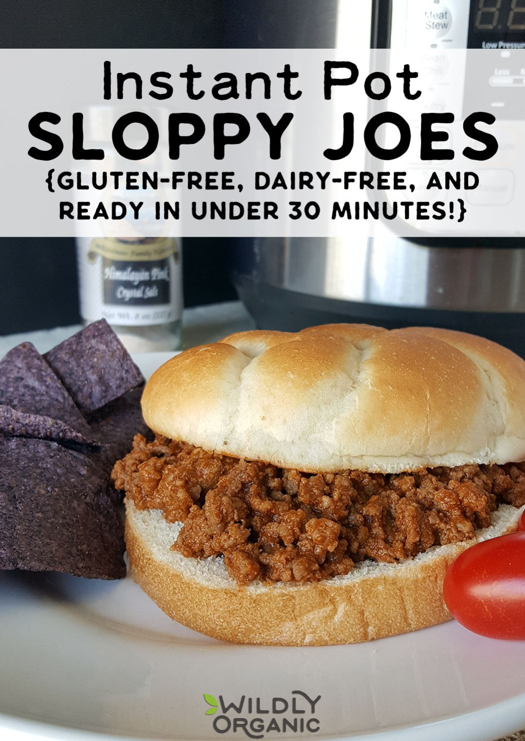 Instant Pot Sloppy Joes are perfect for busy nights or big crowds! Pressure cooking the sloppy joe filling infuses the flavors throughout the meat making for a more flavorful joe. Plus, using Wildly Organic ingredients means a healthy AND delicious meal everyone will love. Allergy friendly, gluten-free, dairy-free. #realfood #instantpot #instantpotrecipes #iprecipes #beef #pressurecooker #healthyfood #healthyrecipes #glutenfree #dairyfree #allergyfriendly