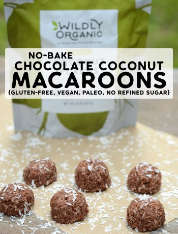 A piece of parchment paper with chocolate coconut macaroons with a bag of Wildly Organic Coconut Flakes.
