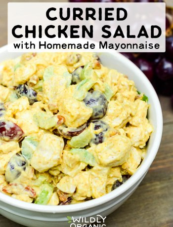 Curried Chicken Salad with Homemade Mayonnaise | This curried chicken salad with homemade mayonnaise is so simple to put together. Serve over a pile of greens, in a wrap, or topped on an avocado! #realfood #lunch #easyrecipes #recipes #chickenrecipes #chicken