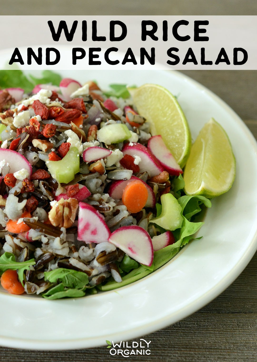 Wild Rice and Pecan Salad | This wild rice and pecan salad is a perfect side dish, but can also become a main by topping with protein such as roast beef or cooked chicken or turkey. Bring this dish to a potluck or even make it ahead for easy weeknight dinners! This is gluten free, vegetarian, real food. #glutenfree #sidedish #vegetarianrecipes #vegetarian #realfood #allergyfriendly