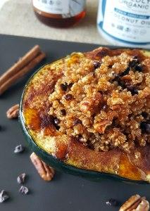 Baked Quinoa Pecan Stuffed Acorn Squash {Vegetarian, Vegan, Gluten-Free}