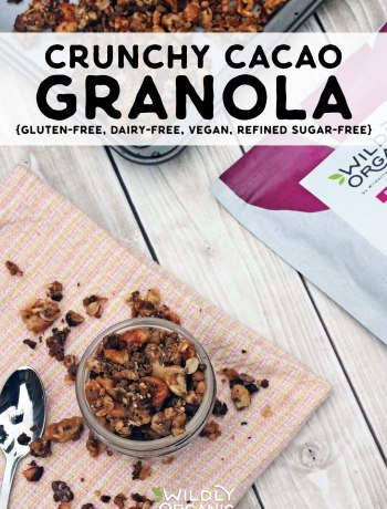 Crunchy cacao granola is gluten-free, dairy-free, vegan, refined sugar-free and makes a perfect snack. Sprinkle it on your smoothie or your morning yogurt! #breakfastrecipes #breakfast #glutenfree #allergyfriendly #veganrecipes #vegan #vegetarianrecipes #vegetarian
