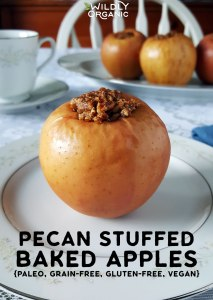 Pecan Stuffed Baked Apples | Pop these super easy grain-free Pecan Stuffed Baked Apples into your oven and your home will fill with the apple-spice aromas of Fall. They will also tickle your taste buds with those classic autumnal flavors and nourish your body with healthy goodness. #realfood #vegan #glutenfree #grainfree #paleo #veganrecipes #vegetarianrecipes #vegetarian