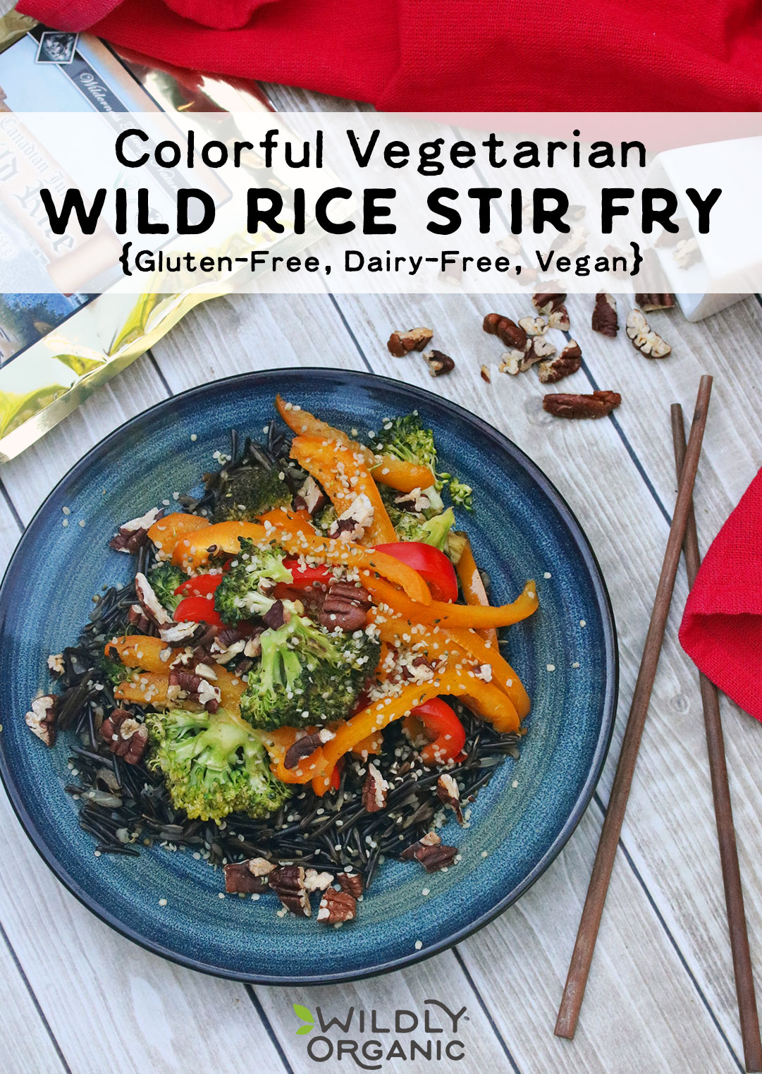 Colorful Vegetarian Wild Rice Stir Fry Gf Dairy Free Vegan