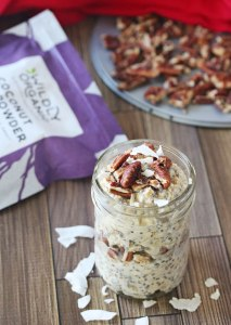 Coconut Pecan Overnight Oats {dairy-free, vegan, no refined sugar}