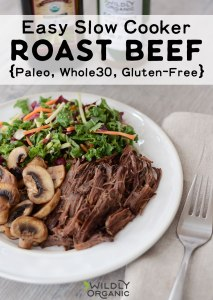 Photo of a dinner plate with roast beef, mushrooms, and kale salad.