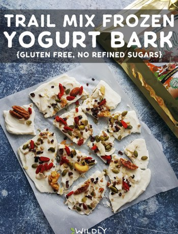 Top down photo of trail mix frozen yogurt bark broken into pieces.