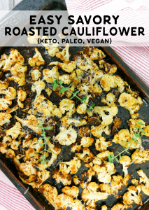 A sheet pan with easy savory roasted cauliflower with coconut oil.