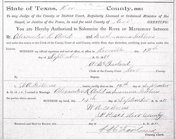 Auld, Alexander Kennedy marriage license with Susanna Gibbens 12 Sept 1881 findagrave