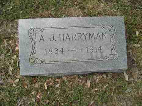 Headstone of A. J. Harryman 1834-1914
