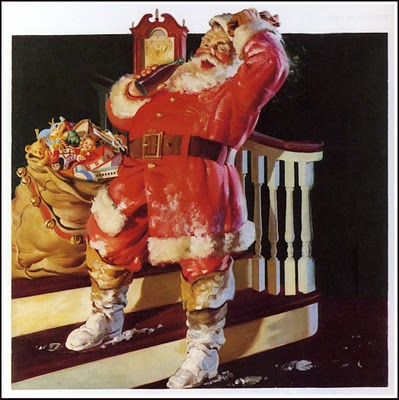 1942 Santa with snow on boots on porch