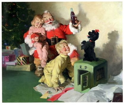 1964 Santa sister and brother with black poodle