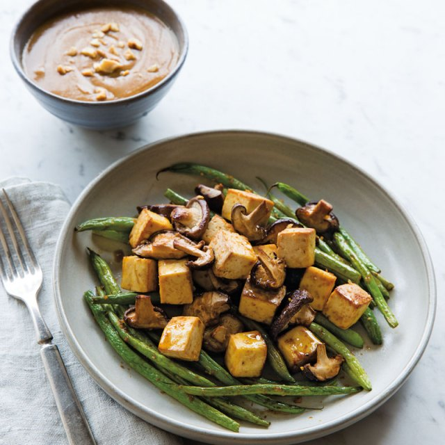 Baked Tofu with Green Beans