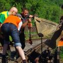 Der Transport der Schiene wird vorbereitet.