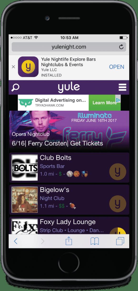 Yule Nightlife Website Install Banner