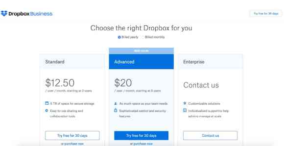 Dropbox pricing options 2020