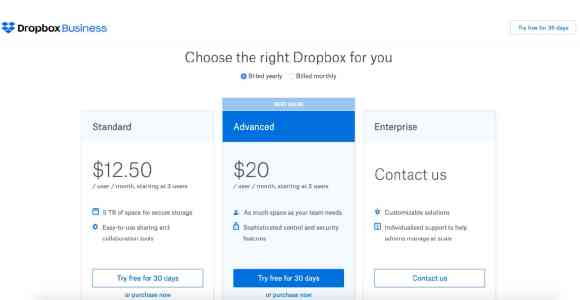 Dropbox pricing options 2020