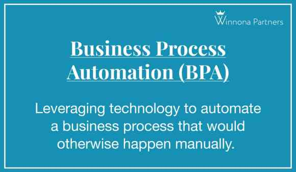 "Definition of ""Business Process Automation (BPA)"": Leveraging technology to automate a business process that would otherwise happen manually."