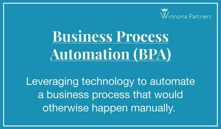 """Definition of """"Business Process Automation (BPA)"""": Leveraging technology to automate a business process that would otherwise happen manually."""